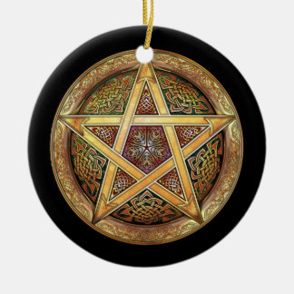 Golden Pentacle Pendant/Ornament Ceramic Ornament