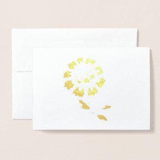 Golden Peony Flower Metallic foil Greeting cards