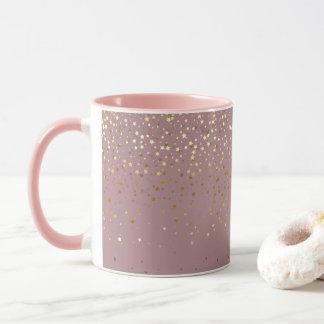 Golden Petite Stars Coffee Mug-Mauve Mug