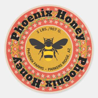 Golden Phoenix Honey Jar Classic Round Sticker