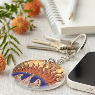 Golden Phoenix Rising From the Ashes Key Ring