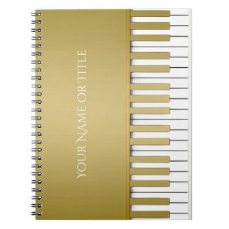 Golden Piano Keyboard Personalized Notebook