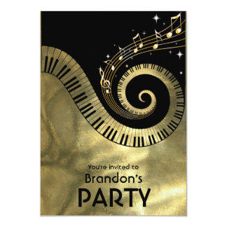 Golden Piano Keys and Gold Music Notes Party 13 Cm X 18 Cm Invitation Card