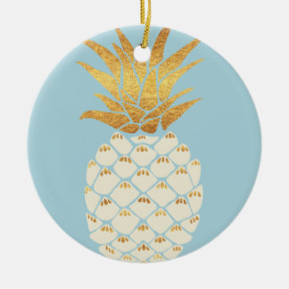 Golden Pineapple Ceramic Ornament