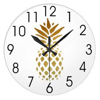Golden Pineapple, Fruit in Gold Large Clock