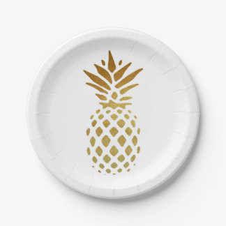 Golden Pineapple, Fruit in Gold Paper Plate