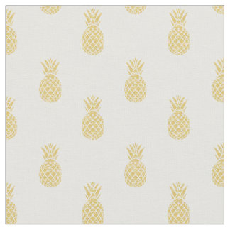 Golden Pineapple Pattern Cotton Fabric
