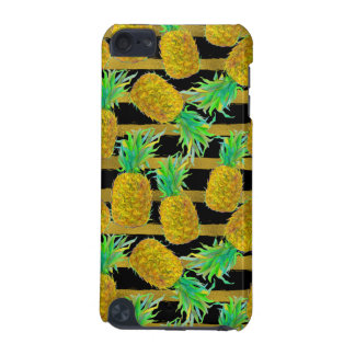 Golden Pineapples On Stripes iPod Touch (5th Generation) Cases