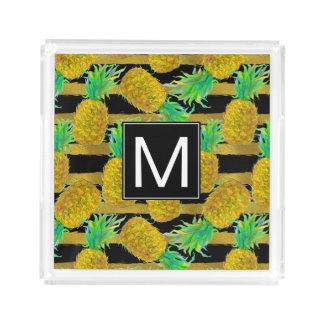 Golden Pineapples On Stripes | Monogram