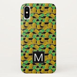 Golden Pineapples On Stripes   Monogram iPhone X Case