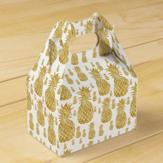 golden pineapples tropical pattern favour box