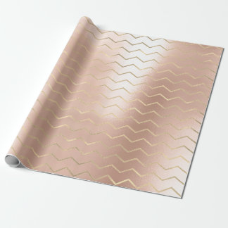 Golden Pink Chevron Stripe Metallic Pearly Blush Wrapping Paper