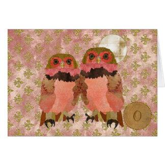 Golden Pink Gypsy Owls Monogram Notecard Card