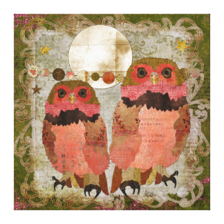 Golden Pink Gypsy Owls Olive Moonlight Canvas Canvas Print