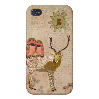 Golden Pink Gypsy Owls & Ornate Buck iPhone Case iPhone 4/4S Cover
