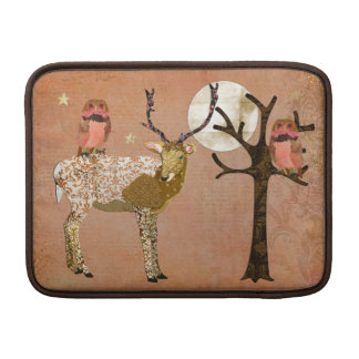 Golden Pink Gypsy Owls & Ornate Buck   Moonlight S Sleeve For MacBook Air