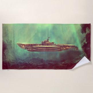 Golden Pirate Submarine Beach Towel