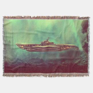 Golden Pirate Submarine Throw Blanket