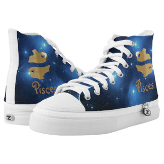 Golden pisces printed shoes