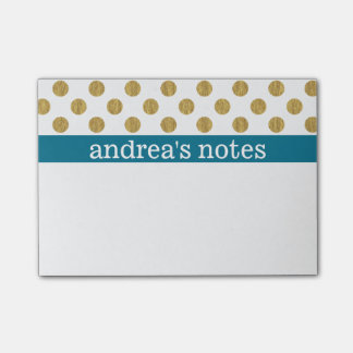 Golden Polka Dots - Personalize Post-It Notes
