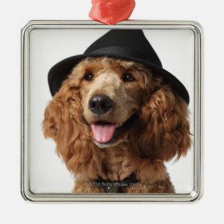 Golden Poodle Dog wearing Hat and Tie Metal Ornament