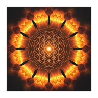 golden power mandala with flower OF life symbol Canvas Print