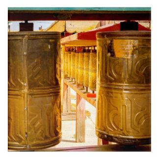 Golden Prayer Wheels Acrylic Print
