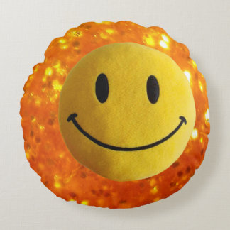 Golden print pillow smile old style, yellow smiley