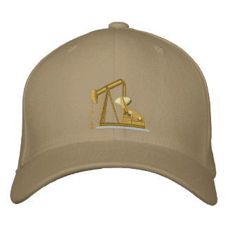 Golden Pumpjack Embroidered Hats