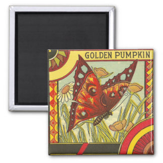 Golden Pumpkin/Crate Label Square Magnet