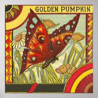 Golden Pumpkin Vintage Crate Label Poster