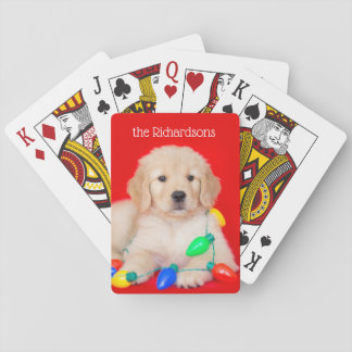 Golden Puppy Tangled in Christmas Lights Playing Cards