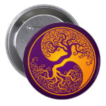Golden Purple Tree of Life Yin Yang Buttons