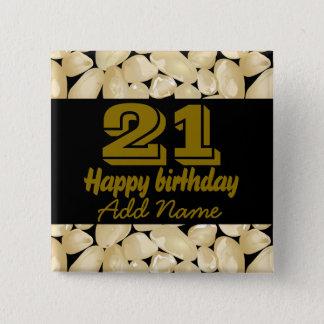 Golden quartz 15 cm square badge