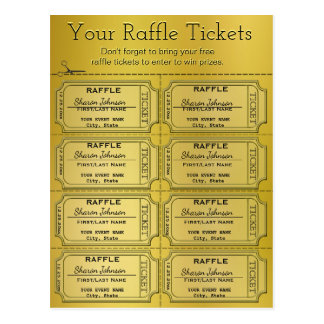 Golden Raffle Tickets Postcard