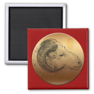 Golden Ram Chinese New Year of the Sheep 2015 Magnet