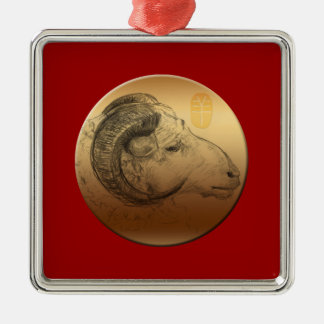 Golden Ram Year - Chinese Astrology Silver-Colored Square Decoration