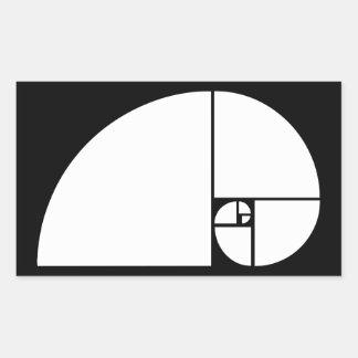 Golden Ratio, Fibonacci Spiral Rectangular Sticker