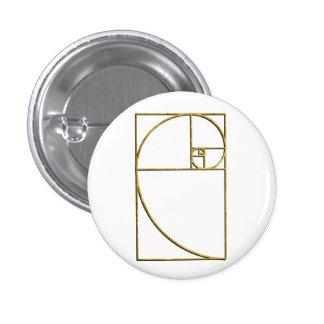 Golden Ratio Sacred Fibonacci Spiral 3 Cm Round Badge