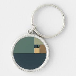 Golden Ratio Squares (Neutrals) Key Ring
