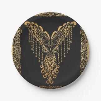 Golden raven paper plate