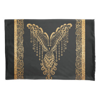 Golden raven pillowcase