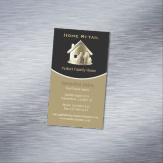 Golden Real Estate Agent Perfect Family Home Magnetic Business Card