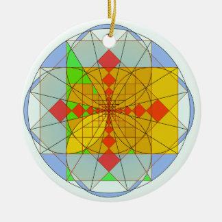 Golden rectangle shapes round ceramic decoration