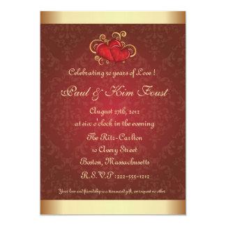 Golden  Red  50th wedding anniversary invitation