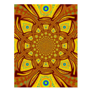 Golden Red African Asian traditional colors Postcard