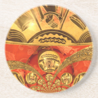 Golden red African traditional art Coaster