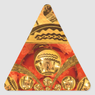 Golden red African traditional art Triangle Sticker