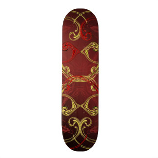 golden, red and black shiny festive colored skateboard decks
