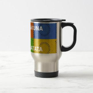Golden Red Blue Green Hakuna Matata Travel Mug